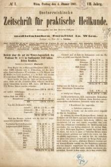 Oesterreichische Zeitschrift für Practische Heikunde : herausgegeben von dem Doctoren - Collegium der Medicinischen Facultät in Wien. 1861, nr1