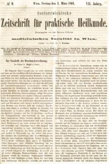 Oesterreichische Zeitschrift für Practische Heikunde : herausgegeben von dem Doctoren - Collegium der Medicinischen Facultät in Wien. 1861, nr9