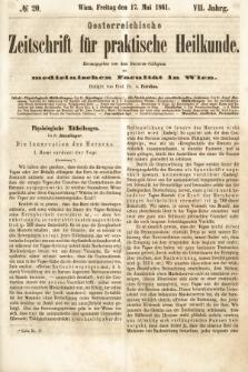 Oesterreichische Zeitschrift für Practische Heikunde : herausgegeben von dem Doctoren - Collegium der Medicinischen Facultät in Wien. 1861, nr20