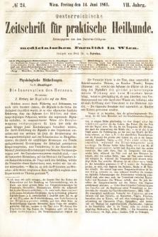 Oesterreichische Zeitschrift für Practische Heikunde : herausgegeben von dem Doctoren - Collegium der Medicinischen Facultät in Wien. 1861, nr24