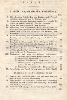 Zeitschrift für Physik und Mathematik. Bd. 2, 1827, Inhalt heft 1-4