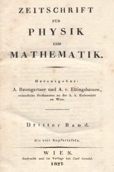 Zeitschrift für Physik und Mathematik. Bd. 3, 1827, Inhalt heft 1-4