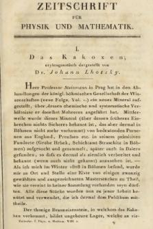 Zeitschrift für Physik und Mathematik. Bd. 8, 1830, [Heft2]