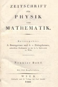 Zeitschrift für Physik und Mathematik. Bd. 9, 1831, Inhalt heft 1-4