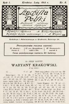 Szachista Polski : miesięcznik poświęcony sprawom szachowym. 1913, nr8