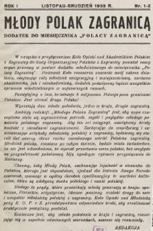 """Młody Polak Zagranicą : dodatek do miesiecznika """"Polacy Zagranicą"""". 1933, nr1-2"""