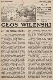 Głos Wileński : pismo tygodniowe dla miast i wsi. 1926, nr16