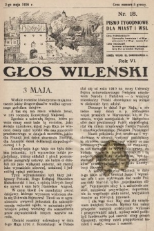 Głos Wileński : pismo tygodniowe dla miast i wsi. 1926, nr18