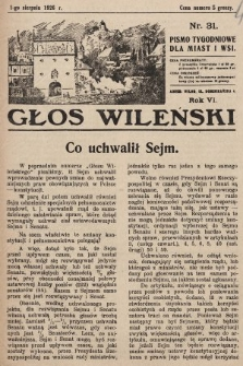 Głos Wileński : pismo tygodniowe dla miast i wsi. 1926, nr31