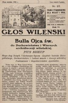 Głos Wileński : pismo tygodniowe dla miast i wsi. 1926, nr37