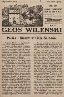 Głos Wileński : pismo tygodniowe dla miast i wsi. 1926, nr39