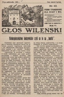 Głos Wileński : pismo tygodniowe dla miast i wsi. 1926, nr43