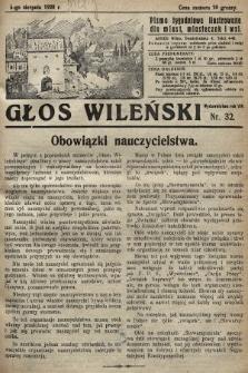 Głos Wileński : pismo tygodniowe illustrowane dla miast, miasteczek i wsi. 1928, nr32