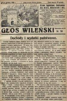 Głos Wileński : pismo tygodniowe illustrowane dla miast, miasteczek i wsi. 1928, nr50