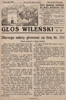 Głos Wileński : pismo tygodniowe ilustrowane dla miast, miasteczek i wsi. 1930, nr20