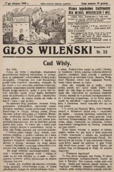 Głos Wileński : pismo tygodniowe ilustrowane dla miast, miasteczek i wsi. 1930, nr33
