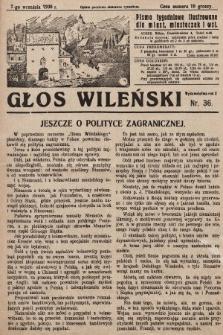 Głos Wileński : pismo tygodniowe ilustrowane dla miast, miasteczek i wsi. 1930, nr36