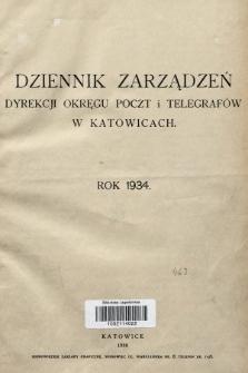 Dziennik Zarządzeń Dyrekcji Okręgu Poczt i Telegrafów w Katowicach. 1934, skorowidz