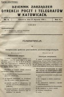 Dziennik Zarządzeń Dyrekcji Okręgu Poczt i Telegrafów w Katowicach. 1934, nr2