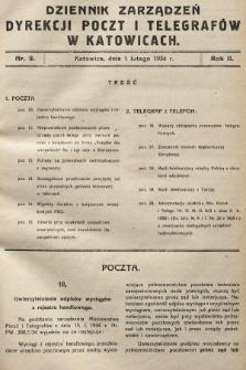 Dziennik Zarządzeń Dyrekcji Okręgu Poczt i Telegrafów w Katowicach. 1934, nr3