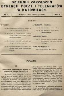 Dziennik Zarządzeń Dyrekcji Okręgu Poczt i Telegrafów w Katowicach. 1934, nr4