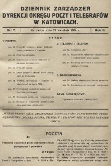 Dziennik Zarządzeń Dyrekcji Okręgu Poczt i Telegrafów w Katowicach. 1934, nr7
