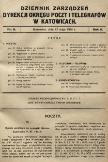 Dziennik Zarządzeń Dyrekcji Okręgu Poczt i Telegrafów w Katowicach. 1934, nr8