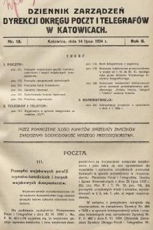 Dziennik Zarządzeń Dyrekcji Okręgu Poczt i Telegrafów w Katowicach. 1934, nr13