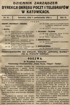 Dziennik Zarządzeń Dyrekcji Okręgu Poczt i Telegrafów w Katowicach. 1934, nr17