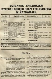 Dziennik Zarządzeń Dyrekcji Okręgu Poczt i Telegrafów w Katowicach. 1934, nr20