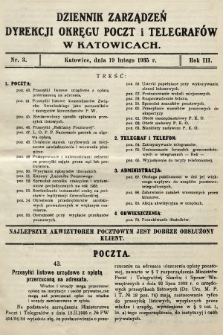 Dziennik Zarządzeń Dyrekcji Okręgu Poczt i Telegrafów w Katowicach. 1935, nr3
