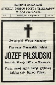Dziennik Zarządzeń Dyrekcji Okręgu Poczt i Telegrafów w Katowicach. 1935, nr9