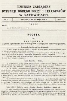 Dziennik Zarządzeń Dyrekcji Okręgu Poczt i Telegrafów w Katowicach. 1936, nr7