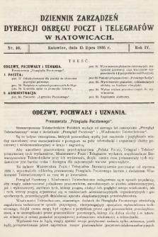 Dziennik Zarządzeń Dyrekcji Okręgu Poczt i Telegrafów w Katowicach. 1936, nr10