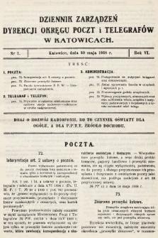 Dziennik Zarządzeń Dyrekcji Okręgu Poczt i Telegrafów w Katowicach. 1938, nr7