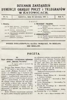 Dziennik Zarządzeń Dyrekcji Okręgu Poczt i Telegrafów w Katowicach. 1937, nr6