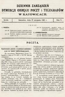 Dziennik Zarządzeń Dyrekcji Okręgu Poczt i Telegrafów w Katowicach. 1937, nr12