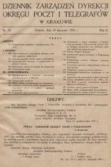 Dziennik Zarządzeń Dyrekcji Okręgu Poczt i Telegrafów w Krakowie. 1934, nr18