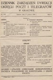 Dziennik Zarządzeń Dyrekcji Okręgu Poczt i Telegrafów w Krakowie. 1934, nr20