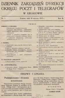 Dziennik Zarządzeń Dyrekcji Okręgu Poczt i Telegrafów w Krakowie. 1935, nr1