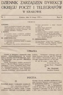 Dziennik Zarządzeń Dyrekcji Okręgu Poczt i Telegrafów w Krakowie. 1935, nr2