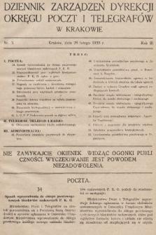 Dziennik Zarządzeń Dyrekcji Okręgu Poczt i Telegrafów w Krakowie. 1935, nr3