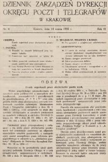 Dziennik Zarządzeń Dyrekcji Okręgu Poczt i Telegrafów w Krakowie. 1935, nr4
