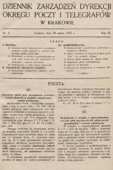 Dziennik Zarządzeń Dyrekcji Okręgu Poczt i Telegrafów w Krakowie. 1935, nr5