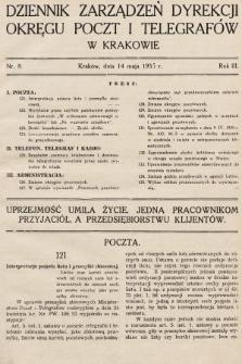 Dziennik Zarządzeń Dyrekcji Okręgu Poczt i Telegrafów w Krakowie. 1935, nr8