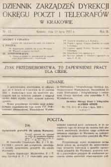 Dziennik Zarządzeń Dyrekcji Okręgu Poczt i Telegrafów w Krakowie. 1935, nr12