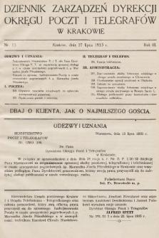 Dziennik Zarządzeń Dyrekcji Okręgu Poczt i Telegrafów w Krakowie. 1935, nr13