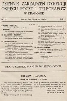 Dziennik Zarządzeń Dyrekcji Okręgu Poczt i Telegrafów w Krakowie. 1935, nr14