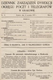 Dziennik Zarządzeń Dyrekcji Okręgu Poczt i Telegrafów w Krakowie. 1935, nr15