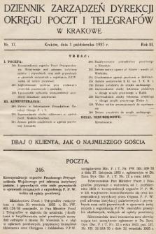 Dziennik Zarządzeń Dyrekcji Okręgu Poczt i Telegrafów w Krakowie. 1935, nr17
